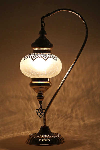 No.3 Size Gold Ottoman Design Swan Neck Table Lamp