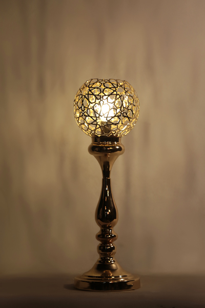 Ottoman Gold Laser Motif Design Tall Table Lamp