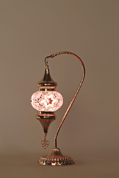 No.2 Size Rose Gold Swan Neck Mosaic Table Lamp