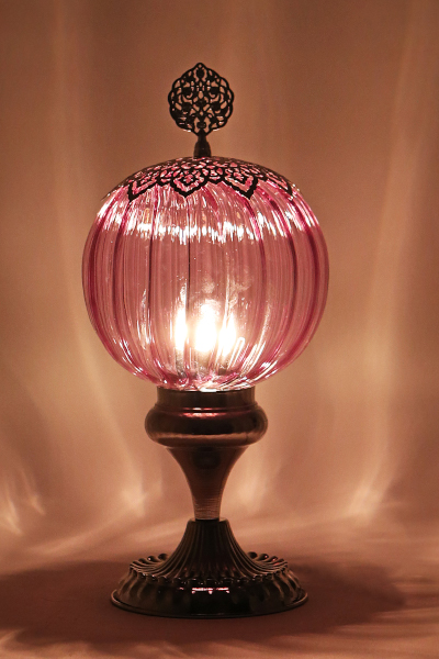 Pyrex Glass Nickel Design Table Lamp