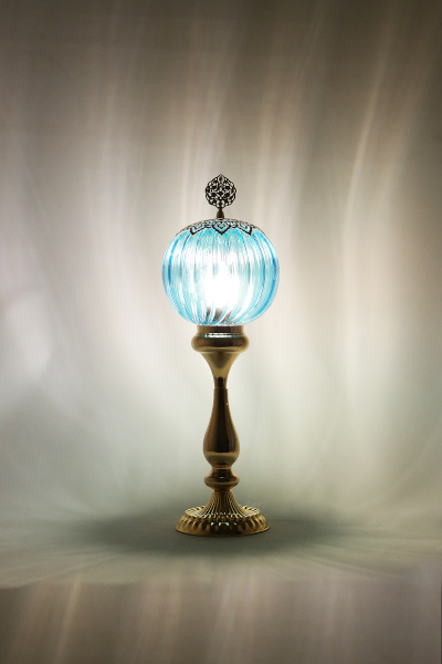 Pyrex Glass Gold Design Tall Table Lamp