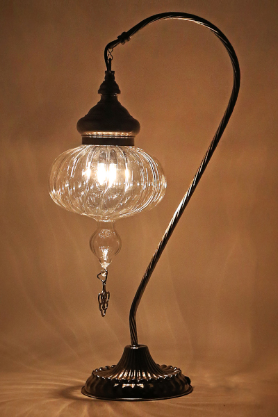 Pyrex Glass Swan Neck Design Table Lamp