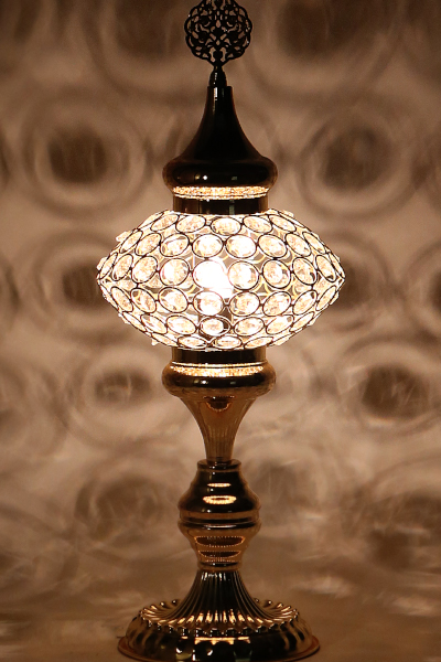 No.3 Size Crystal Stony Gold Design Table Lamp